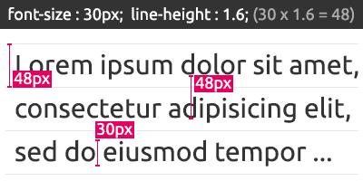 font-size 30px에 line-height를 1.6으로 준 문구 예시