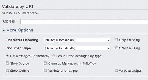 W3C Validator 사이트 화면 일부